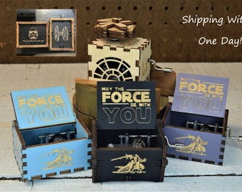 Star Wars Wizard Personalize Valentine Gift for He/Her Vintage Music Box Creative Handmade Antique Wooden Engrave Birthday movie fan