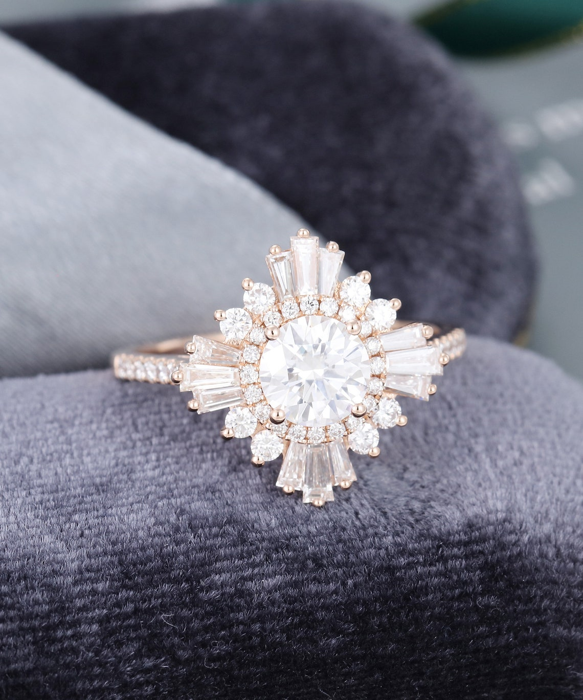 Vintage engagement ring rose gold Unique moissanite halo image 2
