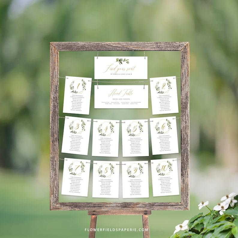 Greenery Seating plan cards Boho wedding hanging cards Printable wedding  #017-106 Rustic Greenery Wedding hanging seating chart template