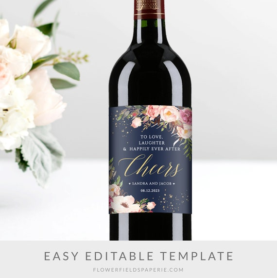 Wine Label Template Navy And Pink Wedding Wine Labels Navy Etsy