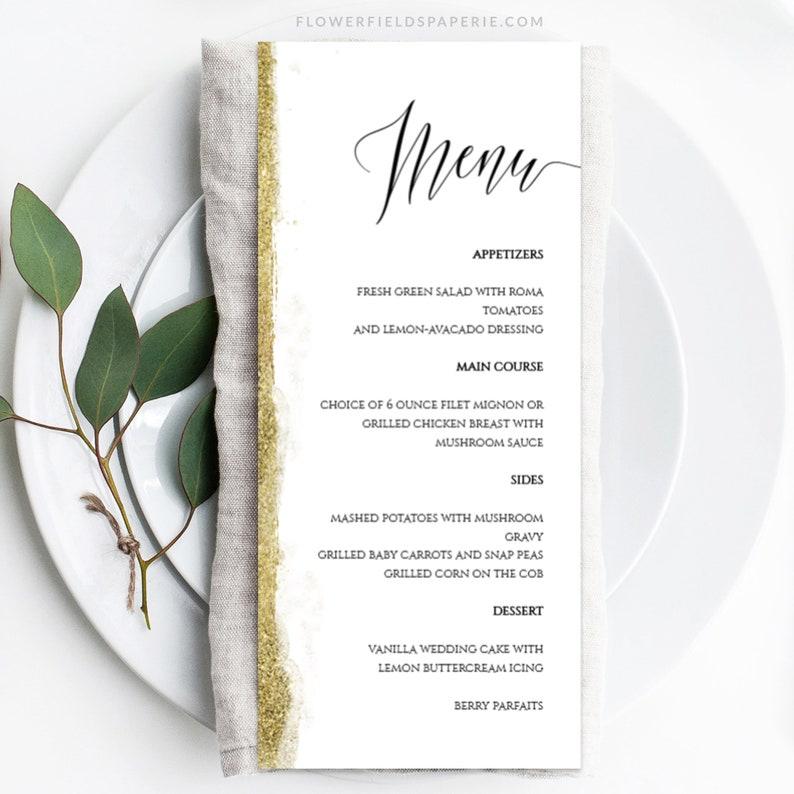 Elegant Reception Card Printable Gold Glitter Menu Editable Template Glitter Wedding Dinner Menu DIY Wedding Editable Menucard #013-119