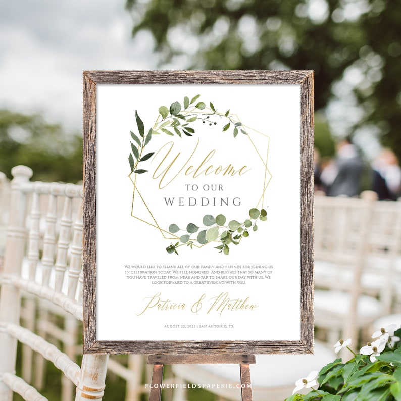 Greenery Wreath Welcome Wedding Printable Rustic Wedding Welcome Sign Template Boho gold Editable Welcome Wedding sign TEMPLETT #017-114