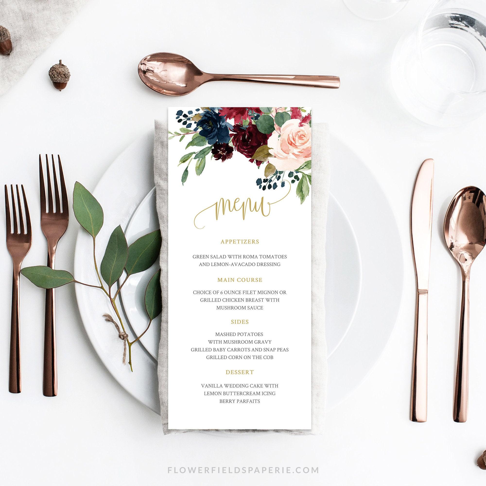 Wedding Menu Template Wedding Dinner Menu Navy Marsala And Blush
