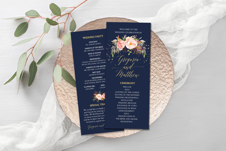 Wedding Program Template Navy And Pink Wedding Program Card Diy