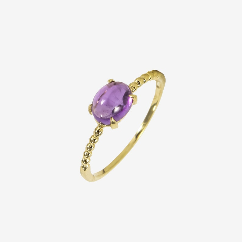 Birthday Gift Amethyst Ring set in 14K Gold Statement Ring Promise Ring Anniversary Ring Valentine Gift Bithstone of February