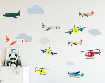 Airplane Sky Flying Cloud Boeing Full Wall Mural Photo Wallpaper Home Decal Kids