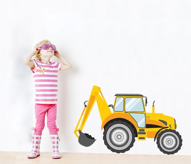 Colored Excavator Tractor Cartoon Wall Sticker Decor Art Mural Children WC195