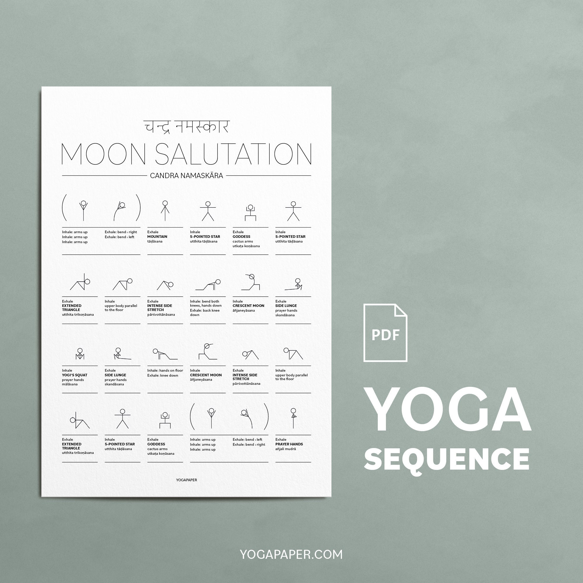 Moon Salutation Yoga Sequence PDF Printable Download for the Sequence of  Chandra Namaskara Step By Step, DIN A50, Letter