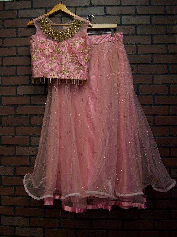 Indian Lehenga Lehnga Choli Crop Top Set Pink Gold Flared Etsy