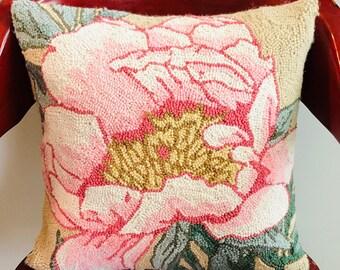 Pink Flower Needlepoint Pillow