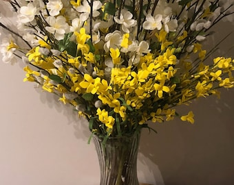 Mother's Day, Flower arrangement, free shipping, faux flowers, white dogwood, pussy willow, forsythia, glass vase, hoosier vase,