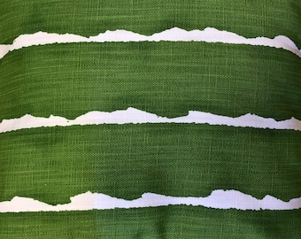 Indoor/ outdoor pillow, green and white, home decor, hypoallergenic, reclaimed, vintage, sunbrella type, uv fabric