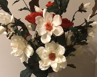 Mothers Day, Camelia and poppies, free shipping, faux flowers, red, flower arrangement , white flowers, mother's Day, Wedding, Bridal
