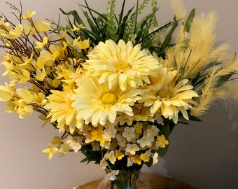 Mothers Day,  yellow flowers, babies breath, wheat, ferns, cosmos, Free shipping, faux flowers,