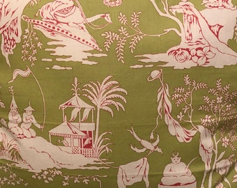 Schumacher, Chinese tablecloth large pillow, midcentury style, 24 inches, pink and green, living room, bedroom, gift,