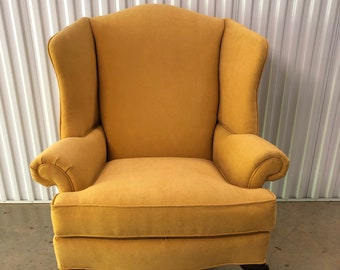 Golden yellow, wingback chair, up cycled, vintage, free shipping, living room, furniture, midcentury finds, creative upholstery, gift,