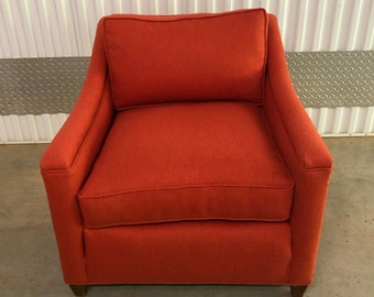 Burnt red, midcentury, club chair, durable, fabric, furniture, living room, upcycled, vintage,
