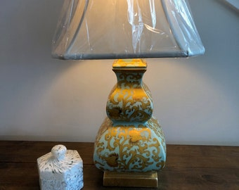 Teal and Gold leaf Asian living room lamp.  Amazing lamp with new shade, Chinese- Japanese style lamp,