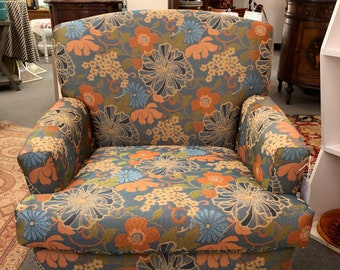 Upcycled Vintage Chair, Boho Floral, Mid Century,Free shipping, Reupholstered, Blue, Orange and Green fabric