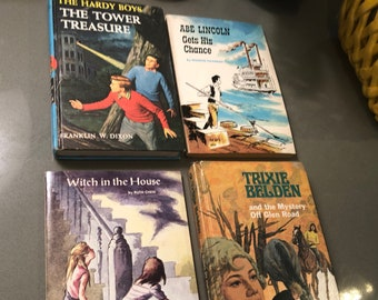 Vintage Children's Grade 3/4 chapter books, 1950's kids books, mystery books, Trixie Belden, Hardy Boys, Abe Lincoln, Witch stories