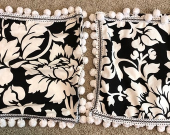 Pillows, Black and white, outdoor fabric, stain resistant, poly fil, pom pom, rick-rack, handmade, customization, home decor, living room