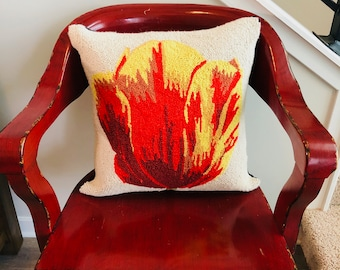 Red and Yellow Tulip Needlepoint Pillow.