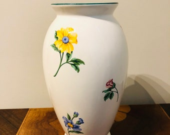 Wedding gift,Tiffany,White Vintage Floral Ceramic Flower Vase, Mother's day, Birthday, 11 inches
