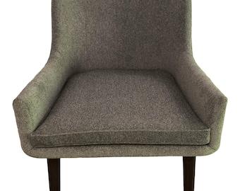 Grey Vintage Mid-Century Wide Seat Armchair Dark Wood Legs