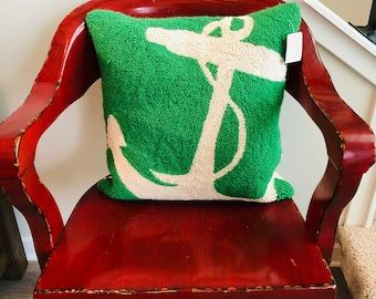 Pillow, Needlepoint, Wool, Green, White,  Anchor, Square