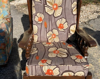 Upcycled Vintage Reupholstered Rocking chair, Mid Century furniture, Kling Wooden, Refinished, Orange Poppies fabric, Living room ,Sun room