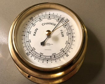 Wempe, Barometer, Hamburg, Brass, vintage, wedding, gift, birthday, weather, instruments, home exterior,