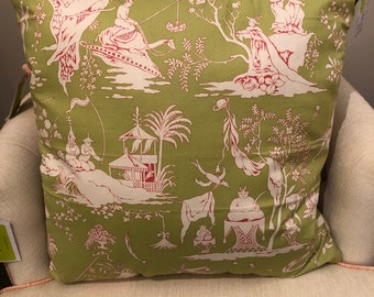 Chinese tablecloth large pillow, midcentury style, 24 inches, pink and green, living room, bedroom, gift,