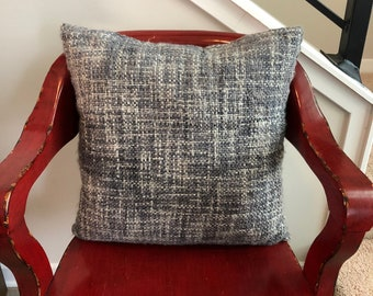 Square Gray and Blue Plaid Decorative Mohair Throw Pillow