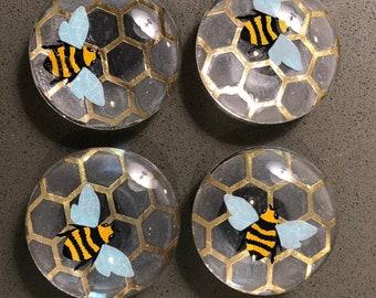 "Honey bee translucent 2"" refrigerator magnets, kitchen organization, arts and crafts, kitchen decor, home decor, gift, birthday, Christmas"