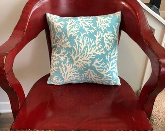 Sky Blue and White Coral Pillow