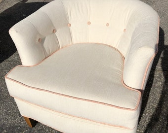 Upcycled Mid Century, Vintage, Barrel Back Chair,Reupholstered,White Tufted, Orange cording,1970's,Living room