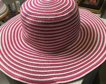 Summer Hats, 5 varieties, Magenta straw, white sunshade, tan Calvin Klein, Shades of Tan, Italian summer, sun hats, beach hats, walking hats