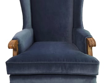 Retro Vintage Traditional Navy Blue Velour Wingback Chair - 1950s