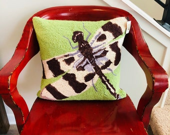 Needlepoint Dragonfly Pillow