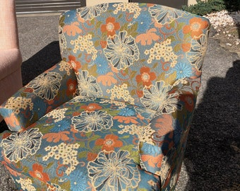 Upcycled Vintage Chair, Boho Floral, Mid Century,Reupholstered, Blue, Orange and Green fabric