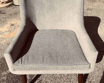 Upcycled Vintage Reupholstered Armchair, Mid Century, Modern, Grey Velour fabric, Living room, Sunroom