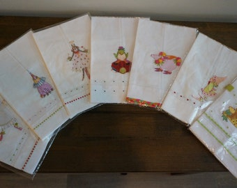 Towels, Linen,Vintage, Children's Tea,gift,ladybug,cat,princess,fairy,frog,prince,lion
