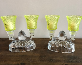 Crystal Candleabra, Fenton, Vaseline glass, Yellow Hobnail,Glow in the dark, Home Decor, Centerpiece decor, Vintage