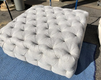 Upcycled Reupholstered Tufted Ottoman,Indoor/ Outdoor ,Grey Sunbrella, Living room, Sunroom, Bedroom,