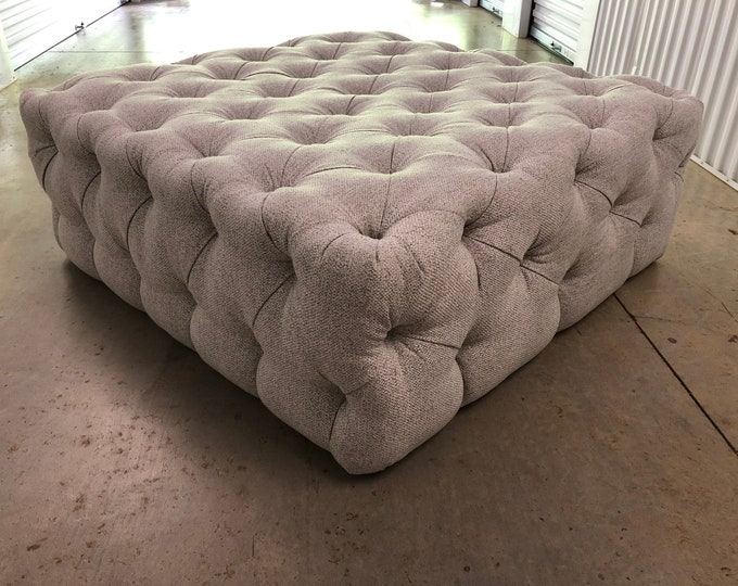 Featured listing image: Upcycled Reupholstered Tufted Ottoman,Indoor/ Outdoor ,Grey Sunbrella, Living room, Sunroom, Bedroom,
