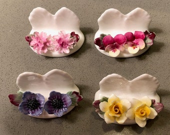 Ansley bone china, place card holders, gift, bridal shower, wedding, vintage, Mothers Day, event planning, holiday table, dining room
