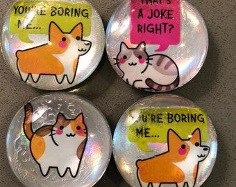 Magnets, cats, dogs, hedgehog, llama, walrus, refrigerator art, kitchen accessories, home organization