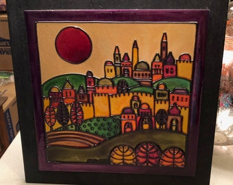 Wall art, tile, hanging art, bright colored tile, sunset, fall colors, village scene, living room, bathroom, kitchen, gift, housewarming