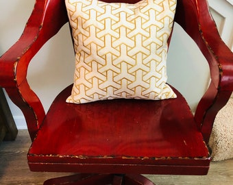 Down Filled Decorative Pillow with Geometric Pattern