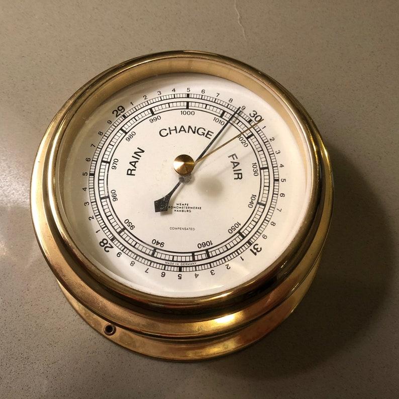 vintage birthday Brass Hamburg wedding Barometer Wempe weather instruments home exterior, gift